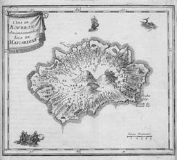 Carte du XVIIe siècle de l'île Bourbon. Source : http://data.abuledu.org/URI/521bea0a-carte-du-xviie-siecle-de-l-ile-bourbon