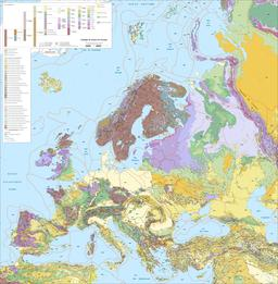 Carte géologique de l'Europe. Source : http://data.abuledu.org/URI/520890e7-carte-geologique-de-l-europe