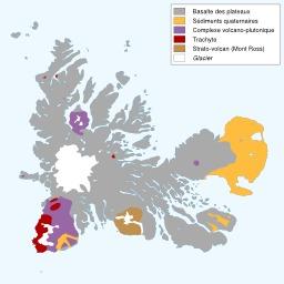 Carte géologique des îles Kerguelen. Source : http://data.abuledu.org/URI/51cf4276-carte-geologique-des-iles-kerguelen