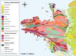 Carte géologique du Massif Armoricain. Source : http://data.abuledu.org/URI/51cbf70c-carte-geologique-du-massif-armoricain