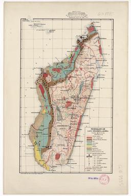 Carte géologique et minière de Madagascar en 1922. Source : http://data.abuledu.org/URI/54858456-carte-geologique-et-miniere-de-madagascar-en-1922