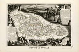Carte illustrée du département de la Moselle en 1852. Source : http://data.abuledu.org/URI/53206cbd-carte-illustree-du-departement-de-la-moselle-en-1852