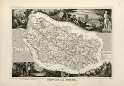 Carte illustrée du département de la Somme en 1852. Source : http://data.abuledu.org/URI/53206f8a-carte-illustree-du-departement-de-la-somme-en-1852