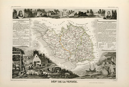 Carte illustrée du département de la Vendée en 1852. Source : http://data.abuledu.org/URI/532070d2-carte-illustree-du-departement-de-la-vendee-en-1852