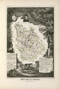 Carte illustrée du département de la Vienne en 1852. Source : http://data.abuledu.org/URI/53207163-carte-illustree-du-departement-de-la-vienne-en-1852