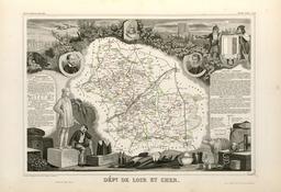 Carte illustrée du département de Loir-et-Cher en 1852. Source : http://data.abuledu.org/URI/5320720f-carte-illustree-du-departement-de-loir-et-cher-en-1852