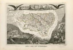 Carte illustrée du département des Basses-Pyrénées en 1852. Source : http://data.abuledu.org/URI/53207a89-carte-illustree-du-departement-des-basses-pyrenees-en-1852