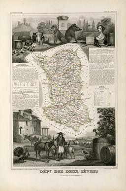 Carte illustrée du département des Deux-Sèvres en 1852. Source : http://data.abuledu.org/URI/53207b9d-carte-illustree-du-departement-des-deux-sevres-en-1852