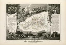 Carte illustrée du département des Pyrénées-Orientales en 1852. Source : http://data.abuledu.org/URI/53207fd6-carte-illustree-du-departement-des-pyrenees-orientales-en-1852