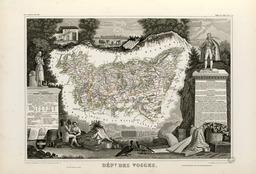 Carte illustrée du département des Vosges en 1852. Source : http://data.abuledu.org/URI/53208078-carte-illustree-du-departement-des-vosges-en-1852