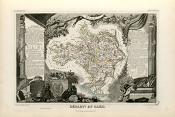 Carte illustrée du département du Gard en 1852. Source : http://data.abuledu.org/URI/53208a37-carte-illustree-du-departement-du-gard-en-1852