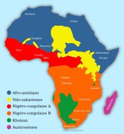 Carte linguistique de l'Afrique. Source : http://data.abuledu.org/URI/51ca25f1-carte-linguistique-de-l-afrique