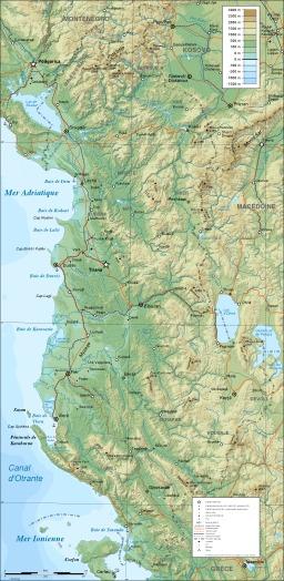 Carte orohydrographique de l'Albanie. Source : http://data.abuledu.org/URI/55615bb3-carte-orohydrographique-de-l-albanie