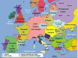 Carte politique de l'Europe au début du 14e siècle. Source : http://data.abuledu.org/URI/50687d4f-carte-politique-de-l-europe-au-debut-du-14e-siecle