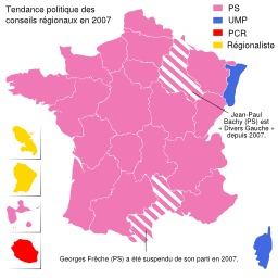 Carte politique de la France en 2007. Source : http://data.abuledu.org/URI/51d3c75c-carte-politique-de-la-france-en-2007
