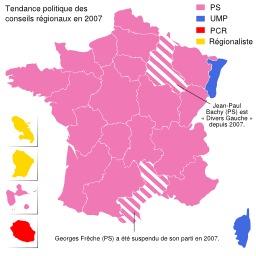 Carte politique de la France en 2007. Source : http://data.abuledu.org/URI/51d3c75c-carte-politique-de-la-france-en-2007