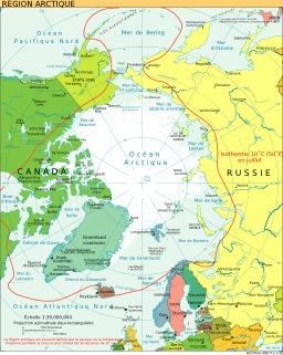 Carte politique de la région arctique. Source : http://data.abuledu.org/URI/51ca2c3b-carte-politique-de-la-region-arctique