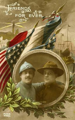 Carte postale fraco-américaine en 1917. Source : http://data.abuledu.org/URI/543bd802-carte-postale-fraco-americaine-en-1917