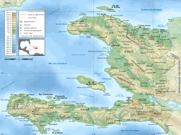 Carte topographique d'Haïti. Source : http://data.abuledu.org/URI/50e773ae-carte-topographique-d-haiti