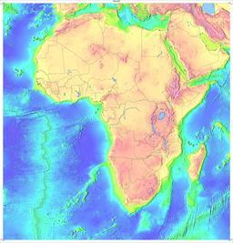 Carte topographique de l'Afrique. Source : http://data.abuledu.org/URI/52d03e5f-carte-topographique-de-l-afrique