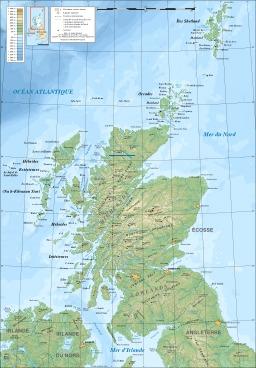 Carte topographique de l'Écosse. Source : http://data.abuledu.org/URI/52093abe-carte-topographique-de-l-ecosse