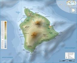 Carte topographique de l'île d'Hawaï. Source : http://data.abuledu.org/URI/5093a545-carte-topographique-de-l-ile-d-hawai