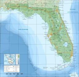 Carte topographique de la Floride. Source : http://data.abuledu.org/URI/52092a23-carte-topographique-de-la-floride
