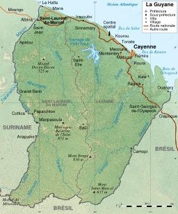 Carte topographique de la Guyane. Source : http://data.abuledu.org/URI/50788ad1-carte-topographique-de-la-guyane