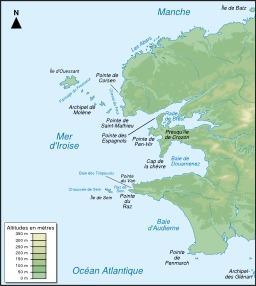 Carte topographique de la Mer d'Iroise. Source : http://data.abuledu.org/URI/54e64bfd-carte-topographique-de-la-mer-d-iroise