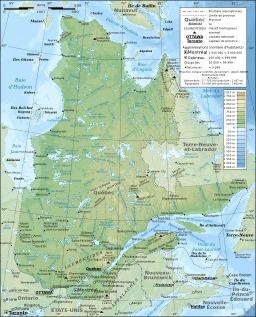 Carte topographique de la province de Québec. Source : http://data.abuledu.org/URI/52092b17-carte-topographique-de-la-province-de-quebec