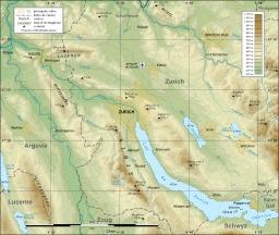 Carte topographique de la région de Zurich. Source : http://data.abuledu.org/URI/5209c975-carte-topographique-de-la-region-de-zurich
