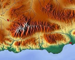 Carte topographique de la Sierra Nevada. Source : http://data.abuledu.org/URI/50e6f8c1-carte-topographique-de-la-sierra-nevada