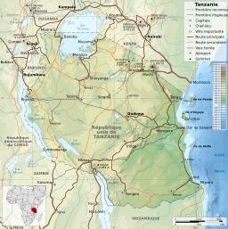 Carte topographique de la Tanzanie. Source : http://data.abuledu.org/URI/52d6b9db-carte-topographique-de-la-tanzanie