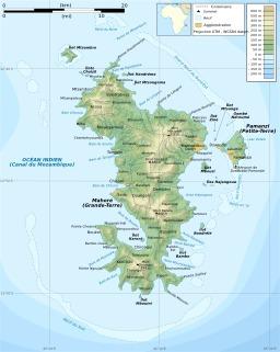 Carte topographique de Mayotte. Source : http://data.abuledu.org/URI/50788803-carte-topographique-de-mayotte