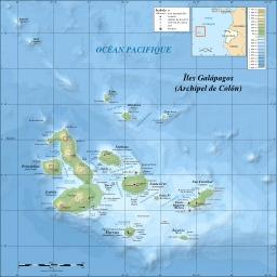 Carte topographique des Galapagos. Source : http://data.abuledu.org/URI/52093167-carte-topographique-des-galapagos