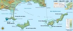 Carte topographique des îles d'Hyères. Source : http://data.abuledu.org/URI/508d1672-carte-topographique-des-iles-d-hyeres