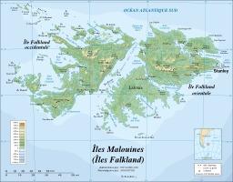 Carte topographique des îles Falkland. Source : http://data.abuledu.org/URI/52093078-carte-topographique-des-iles-falkland