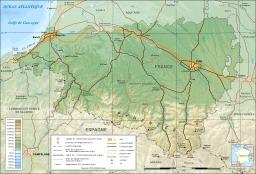 Carte topographique des Pyrénées Atlantiques. Source : http://data.abuledu.org/URI/50788dca-carte-topographique-des-pyrenees-atlantiques