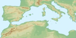 Carte topographique du bassin méditerranéen. Source : http://data.abuledu.org/URI/5263a13b-carte-topographique-du-bassin-mediterraneen