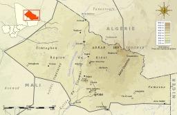 Carte topographique du Kidal au Mali. Source : http://data.abuledu.org/URI/52daa146-carte-topographique-du-kidal-au-mali