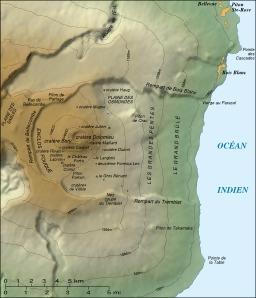 Carte topographique du Piton de la Fournaise. Source : http://data.abuledu.org/URI/506cbb23-carte-topographique-du-piton-de-la-fournaise