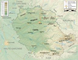 Carte topographique du Tarn. Source : http://data.abuledu.org/URI/54e6496d-carte-topographique-du-tarn