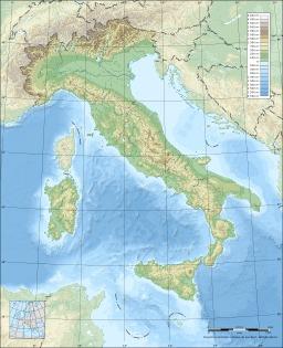 Carte topographique vierge de l'Italie. Source : http://data.abuledu.org/URI/5209c68f-carte-topographique-vierge-de-l-italie