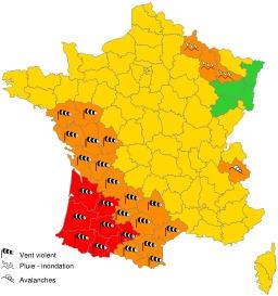 Carte vigilance MétéoFrance du 24-01-2009 à 06h00.. Source : http://data.abuledu.org/URI/52c8424e-carte-vigilance-meteofrance-du-24-01-2009-a-06h00-