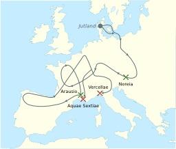 Cartes des invasions des Cimbres et des Teutons. Source : http://data.abuledu.org/URI/520d093d-cartes-des-invasions-des-cimbres-et-des-teutons