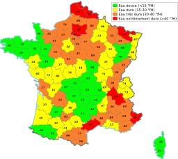Cartographie de la dureté de l'eau en France. Source : http://data.abuledu.org/URI/51ccb7b8-cartographie-de-la-durete-de-l-eau-en-france