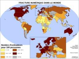 Cartographie de la fracture numérique dans le monde. Source : http://data.abuledu.org/URI/527d9259-cartographie-de-la-fracture-numerique-dans-le-monde