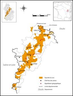 Cartographie des vignobles du Jura. Source : http://data.abuledu.org/URI/5273dec3-cartographie-des-vignobles-du-jura