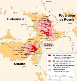 Cartographie des zones irradiées par Tchernobyl. Source : http://data.abuledu.org/URI/52093cd5-cartographie-des-zones-irradiees-par-tchernobyl