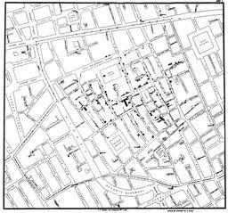Cartographie du choléra à Londres en 1854. Source : http://data.abuledu.org/URI/51bf7bcb-cartographie-du-cholera-a-londres-en-1854